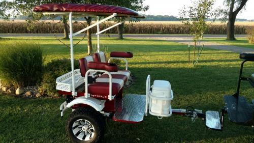 burgundy & white cart